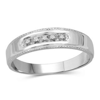 JewelonFire Accent Genuine White Diamond 10K Gold Men's Ring
