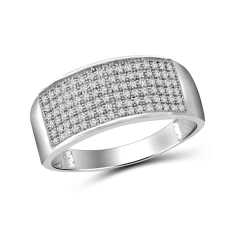 JewelonFire 1/2 Carat Genuine White Diamond 10 K Gold Men's Band