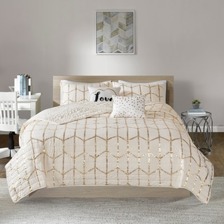 Intelligent Design Khloe Ivory/ Gold Metallic Printed Coverlet Set