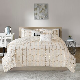 Intelligent Design Khloe Ivory/ Gold Metallic Printed Coverlet Set (3 options available)