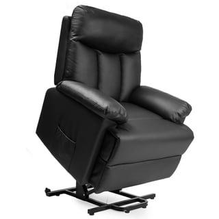 Merax PU Leather Recliner Power Lift Chair (Black - Glam/Americana - Semi-Soft/Soft/Semi-Firm)