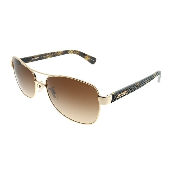 144220f403b05 Coach Aviator HC 7054 L129 920913 Woman Light Gold Dark Tortoise Frame Brown  Gradient Lens Sunglasses