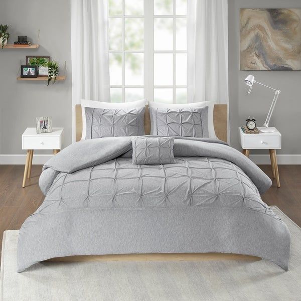Intelligent Design Dana Grey Jersey Tufted 4-piece Duvet Cover Set