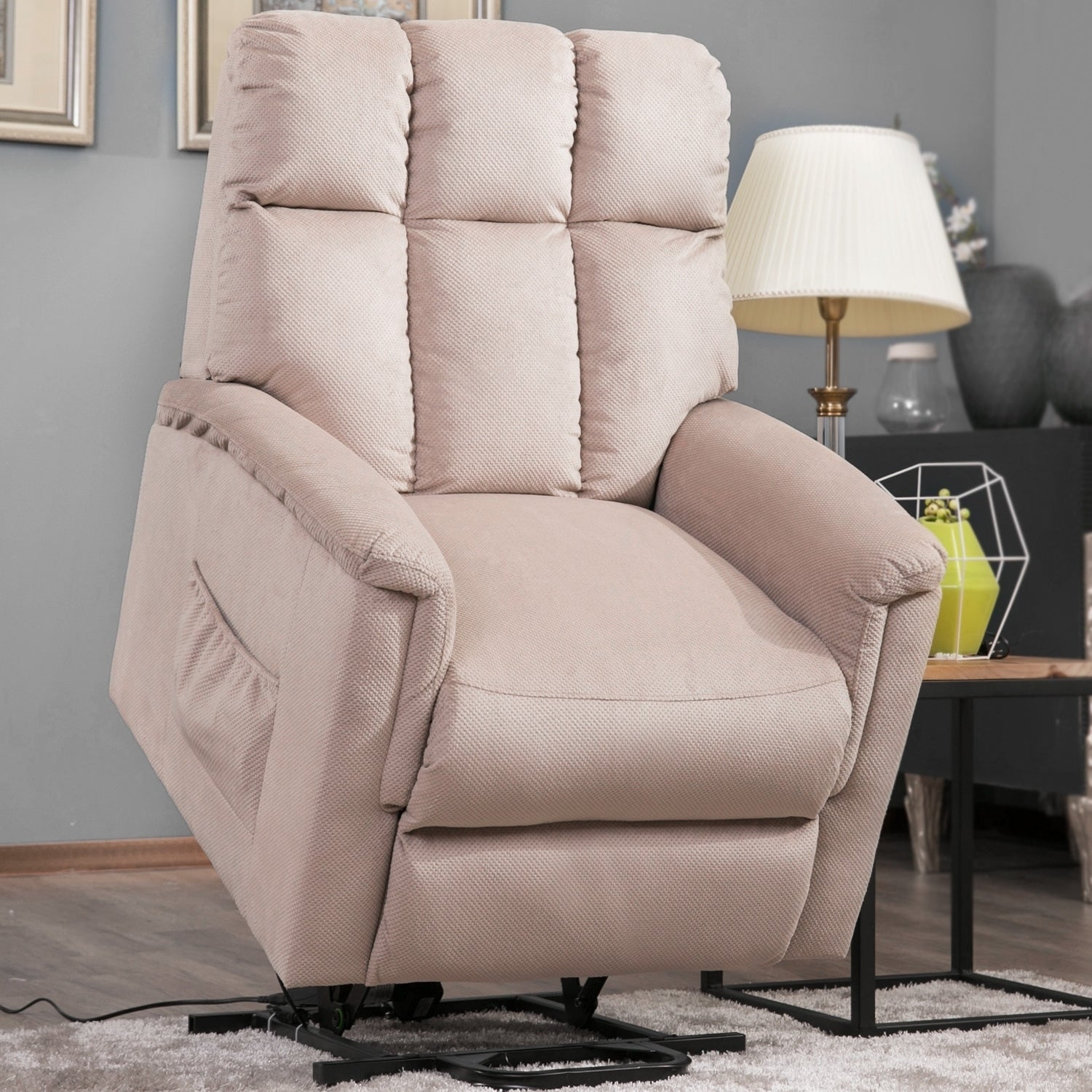 Harper & Bright Designs Power Lift Chair Soft Fabric Recliner Lounge Living Room Sofa with Remote Control
