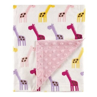 Printed Mink Blanket with Dotted Backing, Pink Giraffe