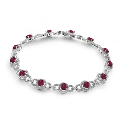 JewelonFire 5.80 Carat Genuine Ruby & 1/20 Ctw White Diamond Sterling Silver Bracelet