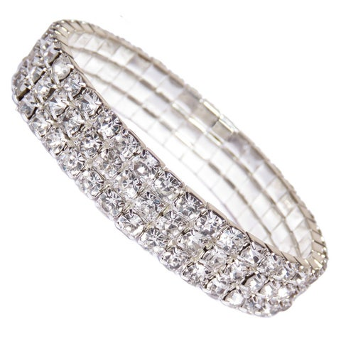 Fashion Jewelry Silver Crystal Tennis Women's Five Tier Rhinestone Bracelet