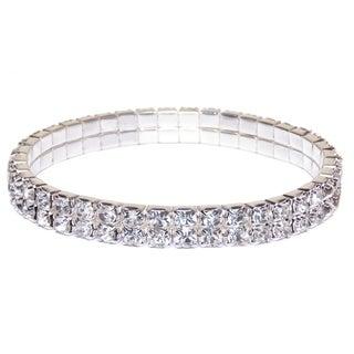 Silver Crystal Tennis Women's Double Tier Rhinestone Bracelet Fashion Jewelry