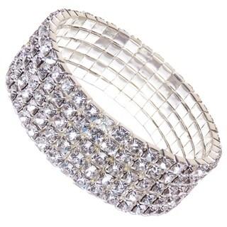 Silver Crystal Tennis Women's Three Tier Rhinestone Bracelet Fashion Jewelry
