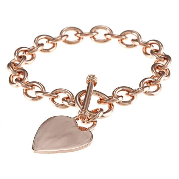 Sterling Essentials Heavy 7.5-inch Heart Toggle Bracelet
