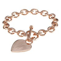 Sterling Silver Heavy 7.5-inch Heart Toggle Bracelet