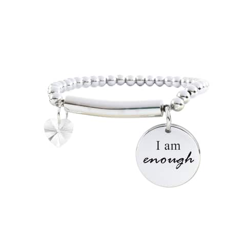 Beaded Inspirational Bracelet with Swarovksi Crystals - I AM ENOUGH