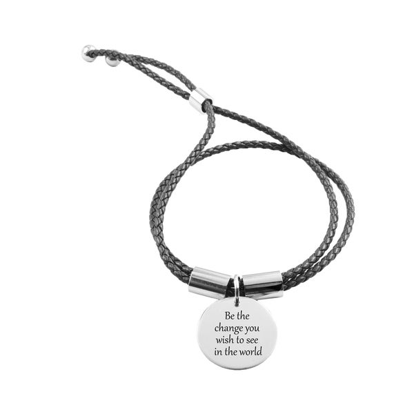 Genuine Adjule Inspirational Leather Bracelet Be The Change