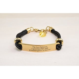 Genuine Leather ID Bracelet with Crystals from Swarovski - LOVE BETWEEN GRANDMA