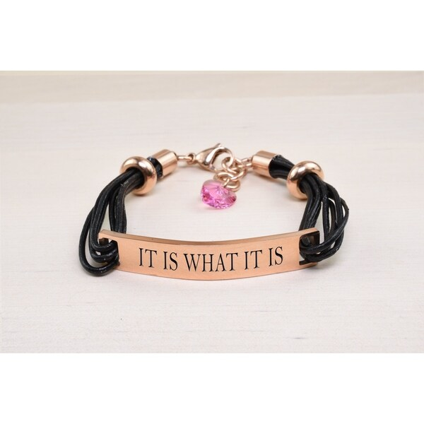 Genuine Leather Id Bracelet With Crystals From Swarovski It Is What