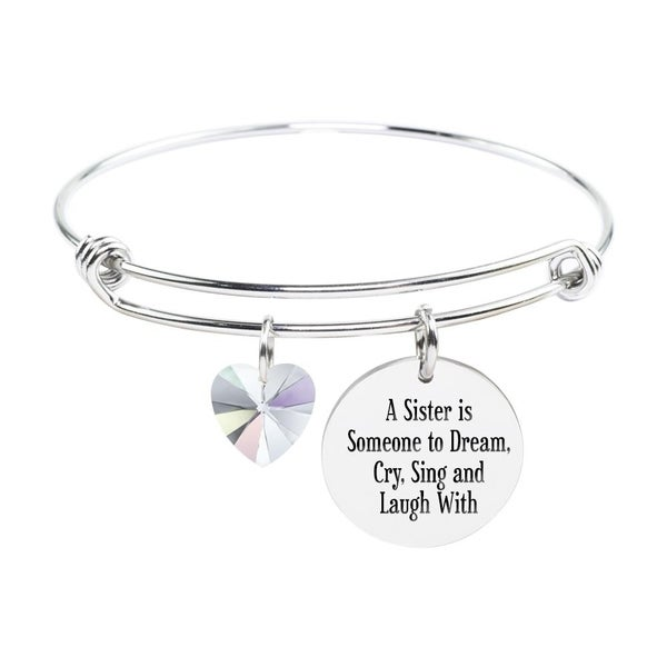 Shop Adjustable Bangle with Crystals from Swarovski - A SISTER - On Sale - Free  Shipping On Orders Over  45 - Overstock.com - 22374140 e128d681ede1