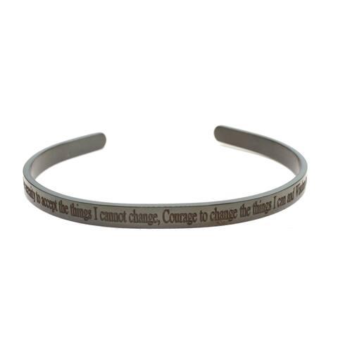5mm solid stainless steel cuff - Serenity Prayer