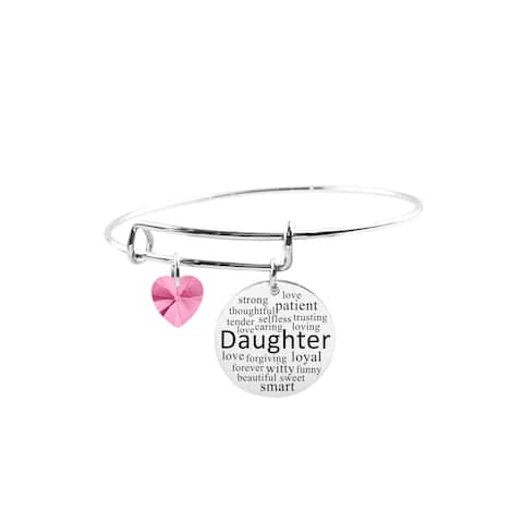 Adjustable Bangle with Crystals from Swarovski - Daughter