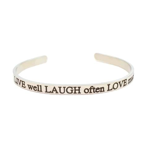 5mm solid stainless steel cuff - Live Laugh Love