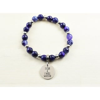 Genuine Agate Inspirational Bracelet - Purple - I can and I will
