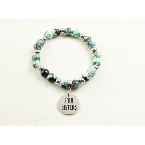 Genuine Agate Inspirational Bracelet - Green - Soul sisters