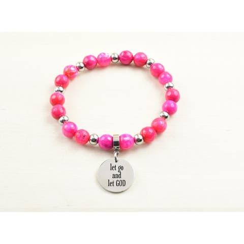 Genuine Agate Inspirational Bracelet - Pink - Let go let God