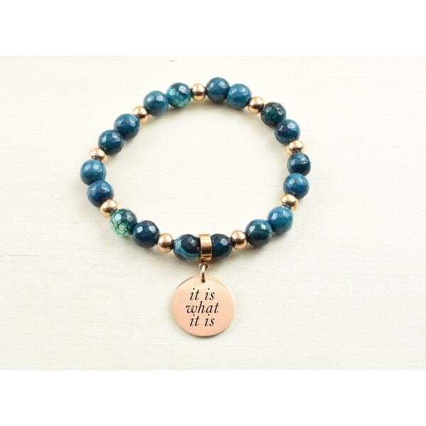 Genuine Agate Inspirational Bracelet Navy It Is What