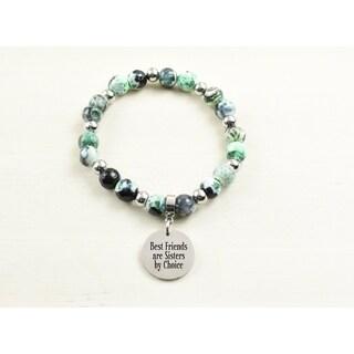 Genuine Agate Inspirational Bracelet - Green - Best Friends