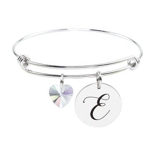Initial Bangle made with Crystals from Swarovski - E