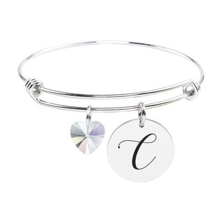 Initial Bangle made with Crystals from Swarovski - C