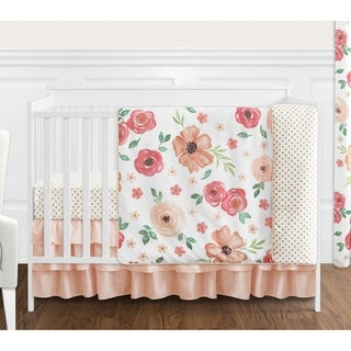 Sweet Jojo Designs Peach and Green Shabby Chic Watercolor Floral Collection Girl 4-piece Crib Bedding Set
