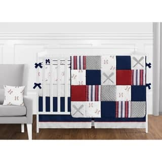 Sweet Jojo Designs Red, White and Blue Baseball Patch Sports Collection Boy 9-piece Crib Bedding Set