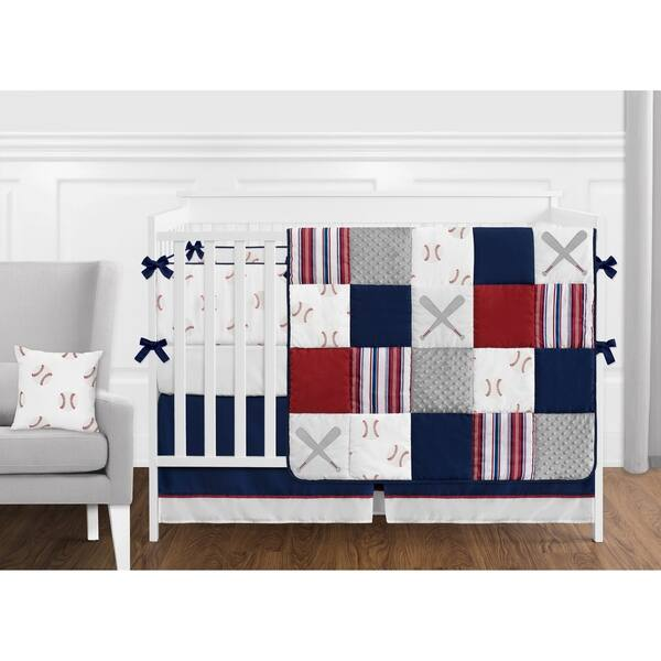 Sweet Jojo Designs Red White And Blue Baseball Patch Sports Collection Boy 9 Piece Crib Bedding Set Overstock 22375930