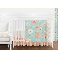 Sweet Jojo Designs Turquoise and Peach Shabby Chic Watercolor Floral Collection Girl 11-piece Crib Bedding Set