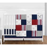 Sweet Jojo Designs Red, White and Blue Baseball Patch Sports Collection Boy 4-piece Crib Bedding Set