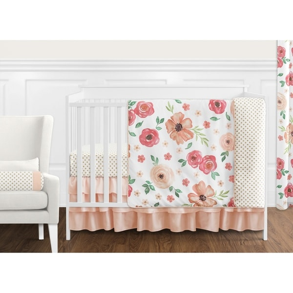 Sweet Jojo Designs Peach and Green Shabby Chic Watercolor Floral Collection Girl 11-piece Crib Bedding Set
