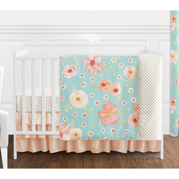 Sweet Jojo Designs Turquoise and Peach Shabby Chic Watercolor Floral Collection Girl 4-piece Crib Bedding Set
