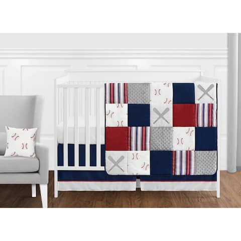 Sweet Jojo Designs Red, White and Blue Baseball Patch Sports Collection Boy 11-piece Crib Bedding Set