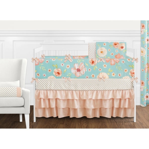 Sweet Jojo Designs Turquoise and Peach Shabby Chic Watercolor Floral Collection Girl 9-piece Crib Bedding Set