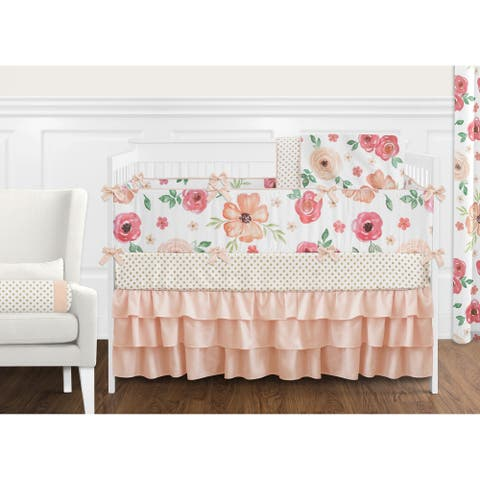 Sweet Jojo Designs Peach and Green Shabby Chic Watercolor Floral Collection Girl 9-piece Crib Bedding Set