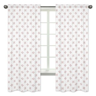 Sweet Jojo Designs Red and White Baseball Patch Sports Collection 84-inch Window Treatment Curtain Panel Pair