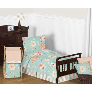 Sweet Jojo Designs Turquoise and Peach Shabby Chic Watercolor Floral Collection Girl 5-piece Toddler-size Comforter Set