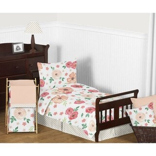 Sweet Jojo Designs Peach and Green Shabby Chic Watercolor Floral Collection Girl 5-piece Toddler-size Comforter Set