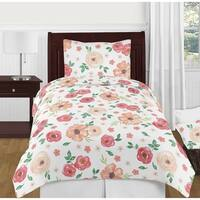 Sweet Jojo Designs Peach and Green Shabby Chic Watercolor Floral Collection Girl 4-piece Twin-size Comforter Set