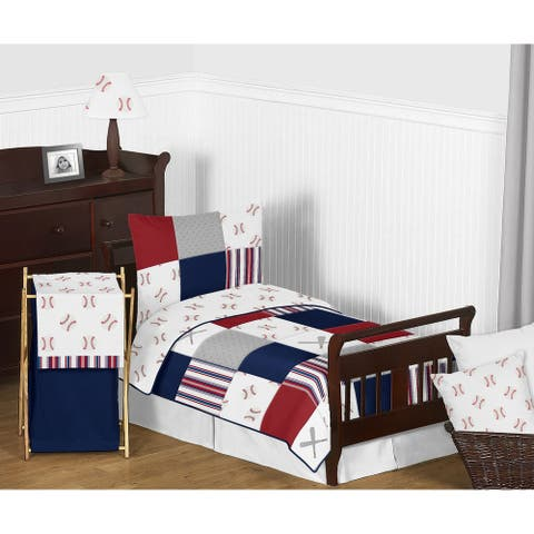 Sweet Jojo Designs Red, White and Blue Baseball Patch Sports Collection Boy 5-piece Toddler-size Comforter Set