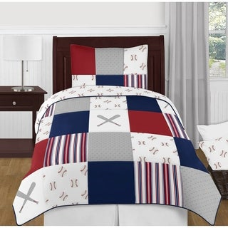 Sweet Jojo Designs Red, White and Blue Baseball Patch Sports Collection Boy 4-piece Twin-size Comforter Set