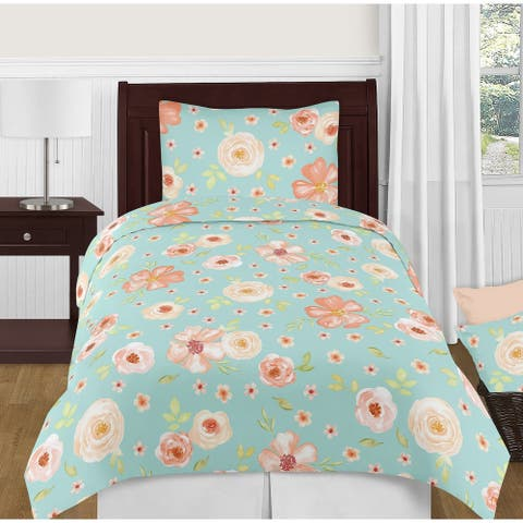Sweet Jojo Designs Turquoise and Peach Shabby Chic Watercolor Floral Collection Girl 4-piece Twin-size Comforter Set
