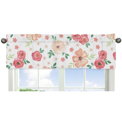 Sweet Jojo Designs Peach and Green Watercolor Floral Collection Window Curtain Valance
