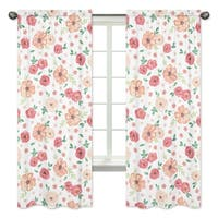 Sweet Jojo Designs Peach and Green Watercolor Floral Collection 84-inch Window Treatment Curtain Panel Pair