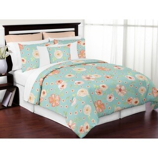 Sweet Jojo Designs Turquoise Peach Shabby Chic Watercolor Floral Collection Girl 3-piece Full / Queen-size Comforter Set